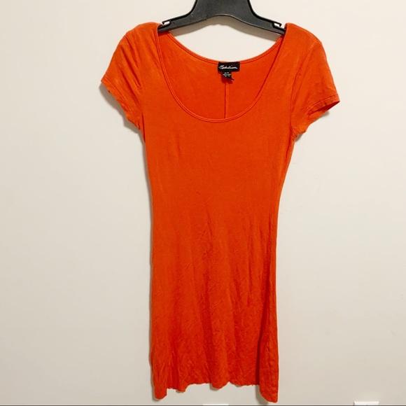 Orange tshirt bodycon short dress